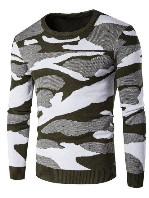 Crew Neck Long Sleeve Camouflage Pattern Sweater - GREEN XL