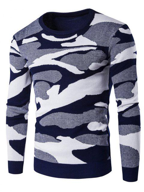 Crew Neck Long Sleeve Camouflage Pattern Sweater - BLUE 2XL