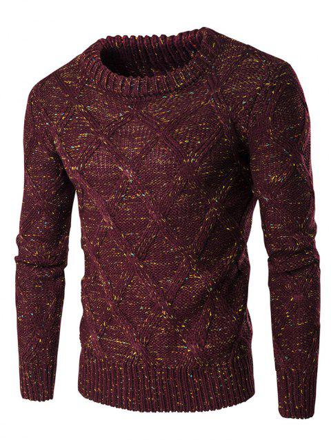 Crew Neck Long Sleeve Colorful Kink Design Sweater - WINE RED M