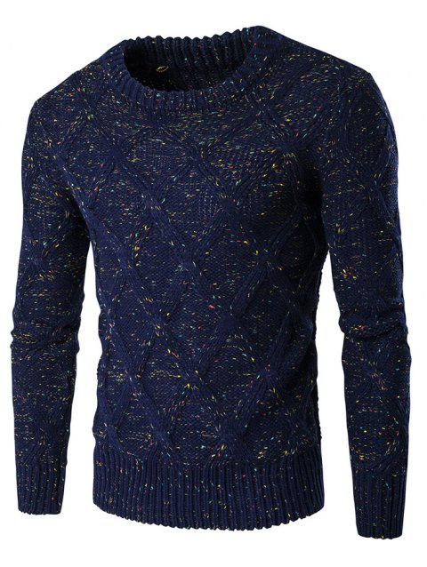Crew Neck Long Sleeve Colorful Kink Design Sweater - CADETBLUE XL