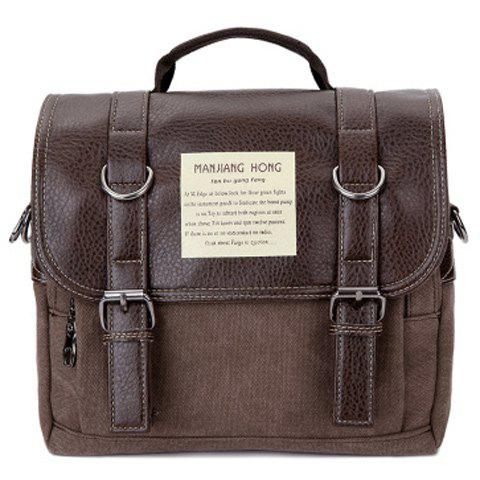 PU Leather Double Buckle Snap Closure Messenger Bag - COFFEE