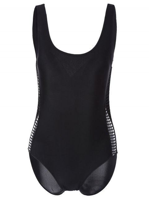 Scoop Neck Hollow Out One Piece Swimwear - BLACK XL