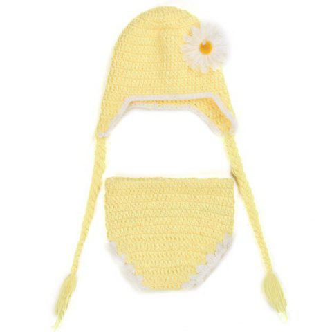 Crochet Pendant Floral Hat bébé Photographie Vêtements Set - Jaune