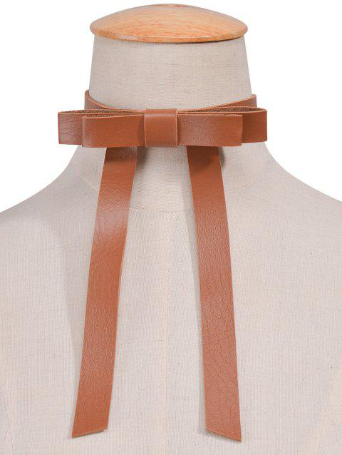 Vintage Faux Leather Bows Choker Necklace - BROWN