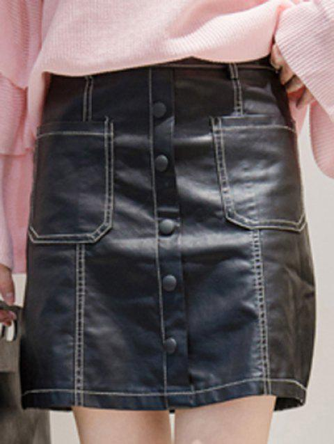 284cde055f0 41% OFF] 2019 PU Leather Buttons Mini Skirt In BLACK   DressLily