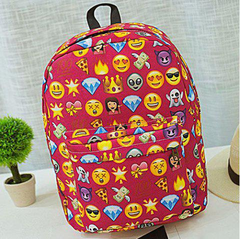 Emoji Printed Nylon Backpack - Rouge