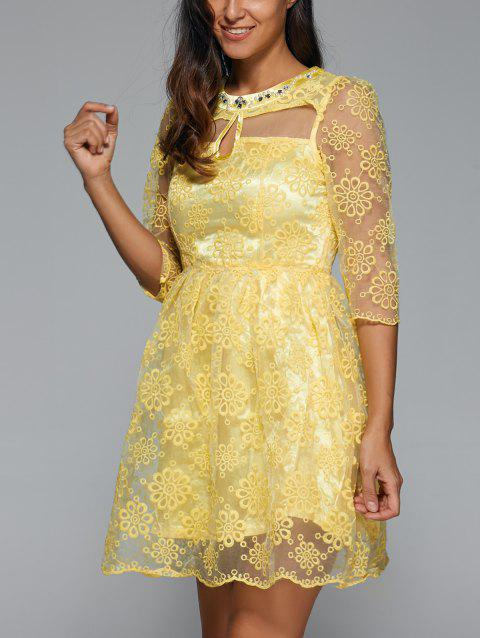 Embroidery See-Through Voile Dress - LIGHT YELLOW L