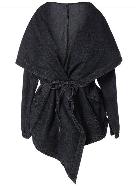 Manteau de neige Wash Asymmetric Hooded Denim Wrap - Noir ONE SIZE