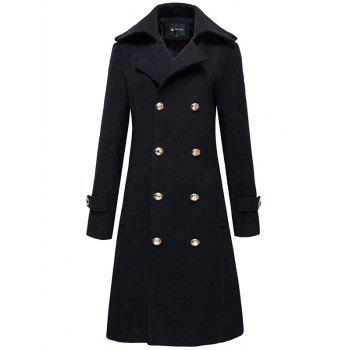 Epaulet Design Half Back Belt Button-tab Cuffs Peacoat
