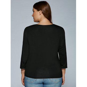 V Neck Long Sleeve Hollow Out T-Shirt - BLACK 4XL
