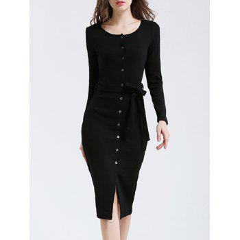 Slimming Belted Button Down Bodycon Dress