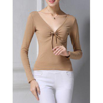 Plunging Neck Ruched Bowknot T-Shirt