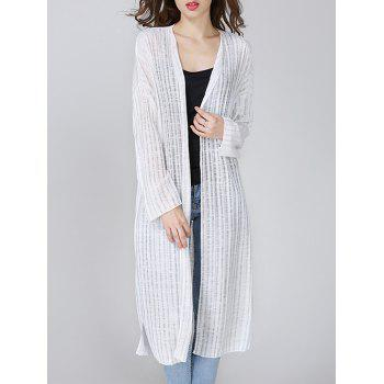 Ribbed Side Slit Long Cardigan