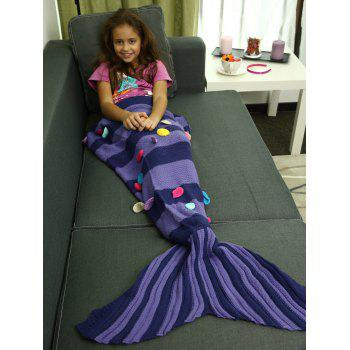 Colorful Patches Embellished Knitting Striped Mermaid Tail Blanket
