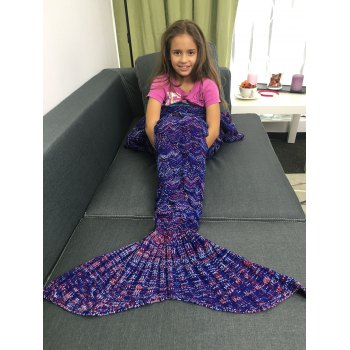 Portable Acrylic Knitted Mermaid Tail Style Blanket