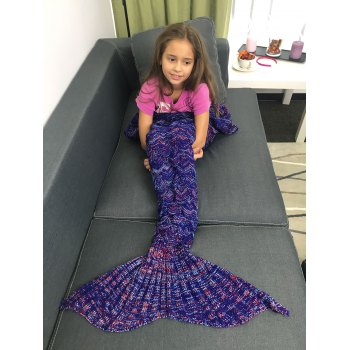 Portable Acrylic Knitted Mermaid Tail Style Blanket - DEEP PURPLE