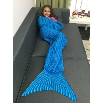 Super Soft Design Acrylic Knitted Mermaid Tail Blanket For Kid