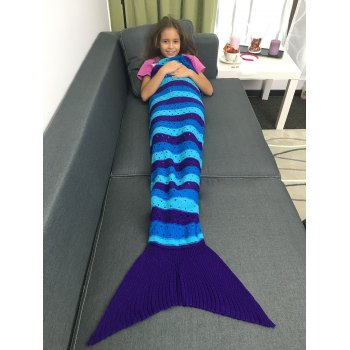 Warmth Acrylic Knitted Openwork Design Striped Mermaid Tail Blanket