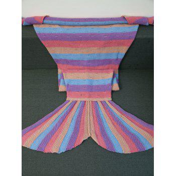 Soft Knitted Multicolor Stripes Design Mermaid Tail Blanket