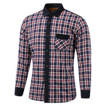 Tartan Pocket Splicing Turn-Down Collar Fleece Shirt