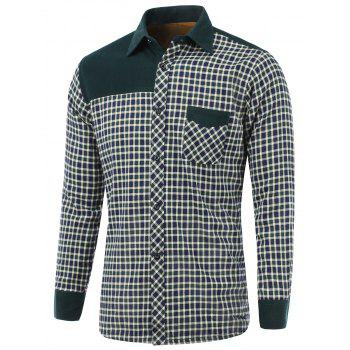 Checked Splicing Design Turn-Down Collar Fleece Shirt