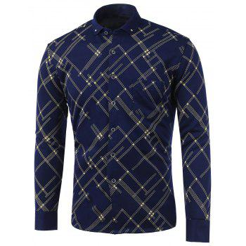 Linellae Print Pocket Turn-Down Collar Fleece Shirt