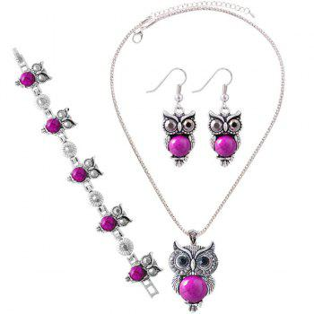 Buy Suit Fake Gemstone Owl Jewlry Set ROSE RED