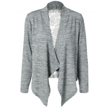 Collarless Lace Spliced Asymmetric Cardigan