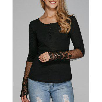 Furcal Lace Splicing Slimming T-Shirt