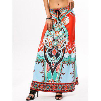 Drawstring Ethnic Style African Print Maxi Skirt