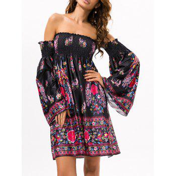 Off The Shoulder Vintage Printed Dress