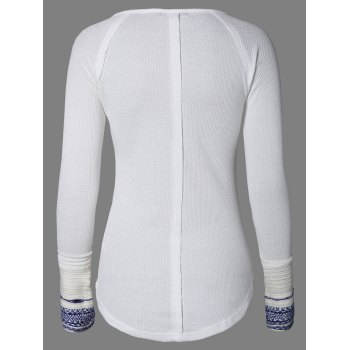 Scoop Neck Long Sleeve Top - WHITE WHITE