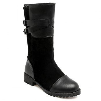 Double Buckle Cross Straps Mid Calf Boots