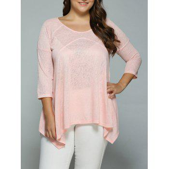 Plus Size Heather Side Slit Asymmetrical Blouse