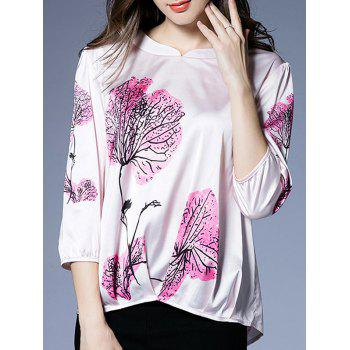 Satin Floral Print Ruched Blouse