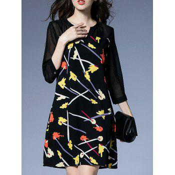 3/4 Sleeve Printed Chiffon Dress