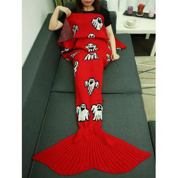 Ghosts Halloween Crochet Knitting Mermaid Tail Style Blanket