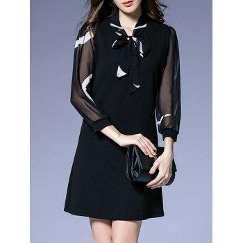 See-Through Sleeves Bowknot Dress