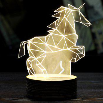 3D LED Pegasus Wooden Base Sleeping Atmosphere Visual Night Light - WHITE WHITE