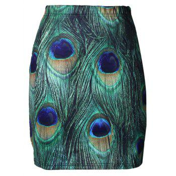 High Waist Peacock Feather Print Bodycon Skirt