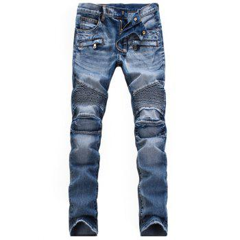 Zippered Rib Paneled Scratched Biker Jeans