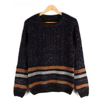 Crew Neck Striped Cable-Knit Sweater