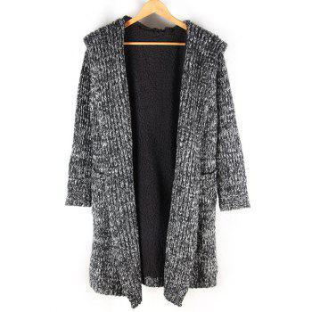 Fleece Lined Heathered Pocket Front Hooded Cardigan