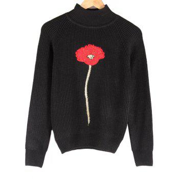 Buy Floral Embroidered Stand Collar Raglan Sleeve Sweater BLACK