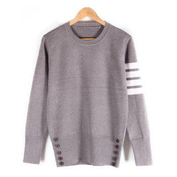Ribbed Button Embellished Crew Neck Sweater