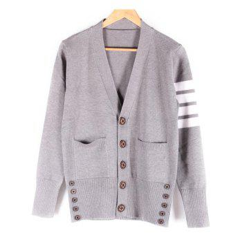 Striped V-Neck Pocket Front Button Up Cardigan