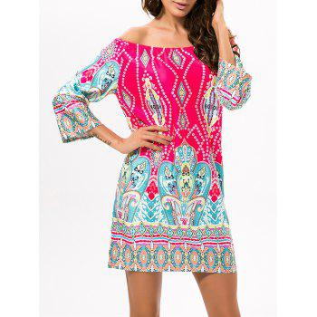 Ethnic Style Off The Shoulder Printed Dress
