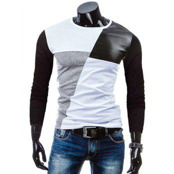Color Block Crew Neck PU-Leather Spliced T-Shirt