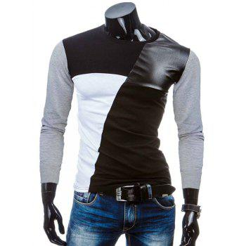 Color Block Crew Neck PU-Leather Splicing T-Shirt