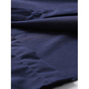 Long Sleeve Color Block Splicing Shirt - PURPLISH BLUE XL